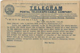 Telegram from Bradford Merrill and letters from N. Sargent (?) to John Walker and , 1899 October 25-1900 January 16
