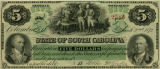 South Carolina revenue bond scrip of $5 showing image of a slave preparing a sweet potato dinner for General Francis...