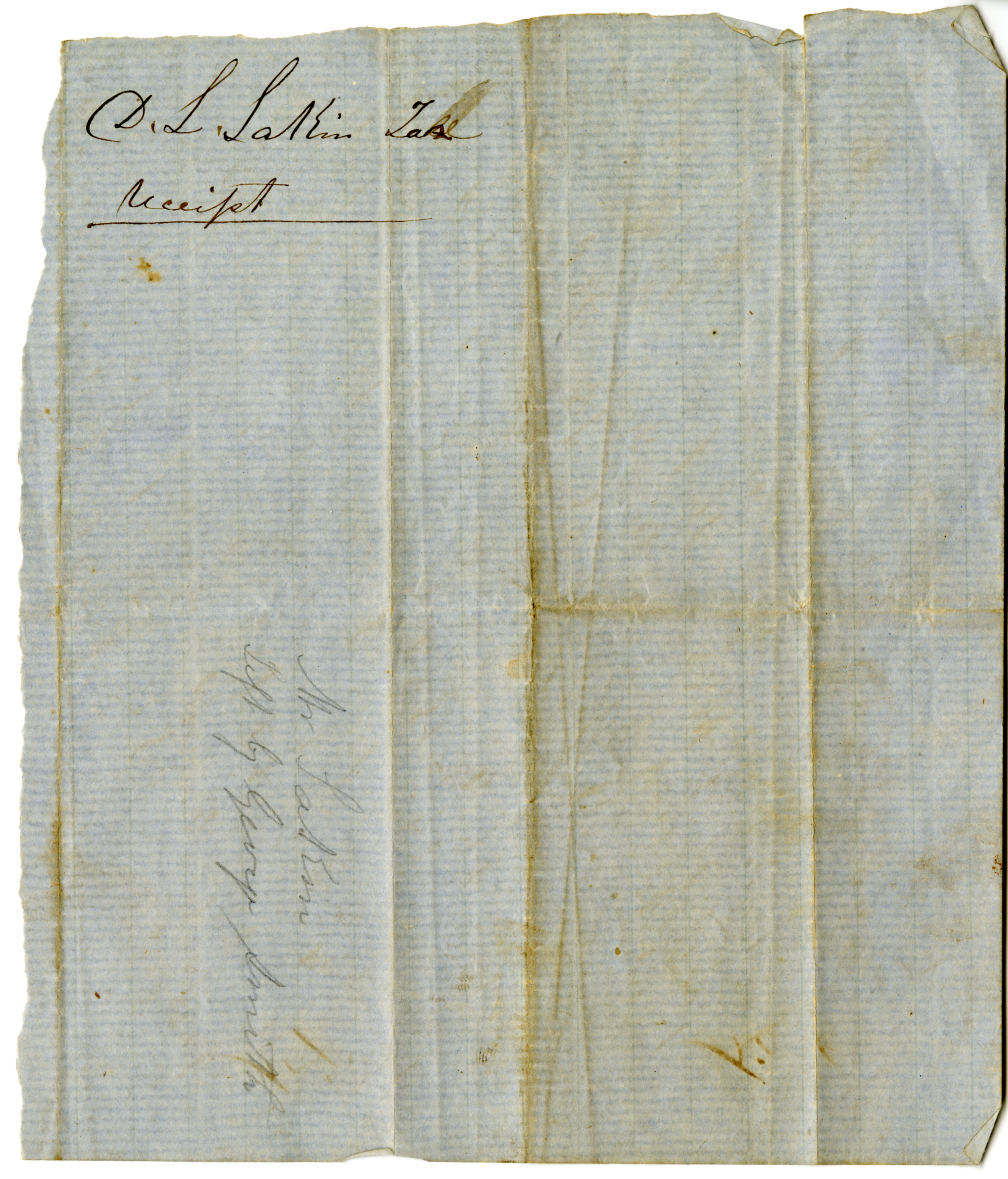 Tax receipt to George Smith for David L. Lakin from Franklin Township, Calhoun County, Kansas Territory